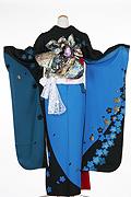 1055 青系 ブルー黒染め分け花柄背面写真
