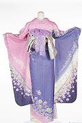 1073 ピンク系 パープル染め分けラメ入り花柄背面写真