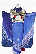 1101 紺系 ブルーラメ入り花柄背面写真