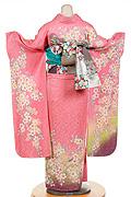 1222 ピンク系 サーモンピンクラメ入り小花柄背面写真