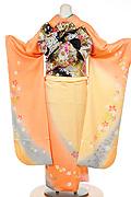 1229 オレンジ系 黄色染め分けラメ入り小花柄背面写真