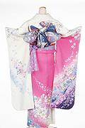 1286 白系 ピンク染め分けラメ入り花柄背面写真