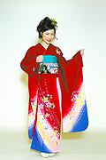 1343 赤系 裾紺紫小花柄前面写真