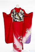 1343 赤系 裾紺紫小花柄背面写真