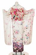 1356 白系 藤色ピンク小花柄背面写真