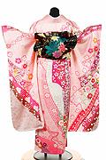 1542 ピンク系 総絞りのし目、花柄背面写真