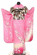 1573 ピンク系 裾赤リボン、桜、牡丹柄 tt-b118背面写真