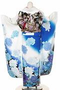 1718 白系 裾黒、青い薔薇と銀色蝶柄 tt-bnAnge203背面写真