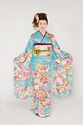1756 青系 桜、菊、牡丹、花手まり古典柄前面写真