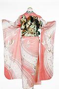 306 ピンク系 サーモンピンク蝶柄背面写真