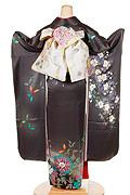 637 グレー系 濃いグレー蝶、花柄背面写真