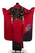 648 赤系 ワインレッドワンポイント花柄背面写真