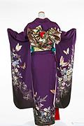 661 紫系 赤紫蝶、花柄背面写真