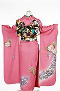 695 ピンク系 濃いピンク花柄背面写真