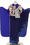 933 紺系 濃紺ブルー染め分け小花柄背面写真