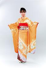1025 オレンジ系 裾赤紫小花柄 サムネイル