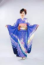1026 紫系 ブルー染め分けラメ入り花柄 サムネイル