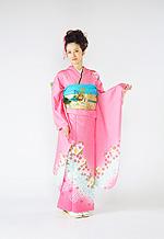 1081 ピンク系 サーモンピンクブルー小花柄 サムネイル
