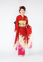 1096 赤系 朱赤裾ピンク桜柄 サムネイル