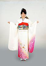 1251 白系 裾ピンクラメ入り桜柄 サムネイル