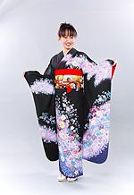 1274 黒系 ラメ入りピンク小花柄 サムネイル