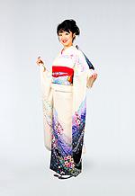 1285 白系 裾紫ラメ入り花柄 サムネイル