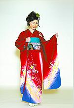 1343 赤系 裾紺紫小花柄 サムネイル