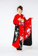 1401 赤系 黒染め分け花柄 サムネイル