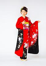1428 赤系 黒染め分け花柄 サムネイル