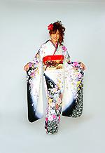 1493 白系 黒染め分け金彩、銀彩、牡丹柄 tt-b桂由美 サムネイル