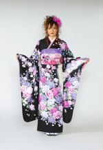 1664 黒系 白染め分け白、ピンク、青い薔薇 tt-b桂由美 サムネイル