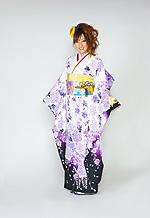 1580 白系 裾黒、蝶と紫の牡丹柄 tt-bn125 サムネイル