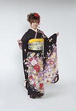 1626 茶系 茶紫、ラメ入り赤い牡丹と毬柄 tt-bジャストユー サムネイル
