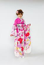 1633 ピンク系 ラメ入り裾白、赤と紫の薔薇柄 tt-b102 サムネイル