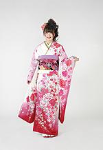 1655 白系 ピンクラメ入り裾赤、白とピンクの大小菊、牡丹柄 tt-b222 サムネイル