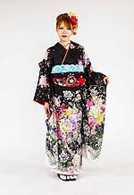 1657 黒系 裾白、大小の薔薇 tt-bsアゲハサクリナ柄 サムネイル