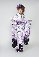 1659 白系 裾黒、蝶と紫の牡丹柄 tt-bn125 サムネイル