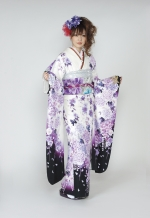 1676 白系 裾黒、蝶と紫の牡丹柄 tt-bn125 サムネイル