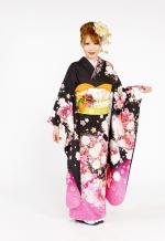 1741 黒系 裾ピンク、大小の薔薇 tt-bn116 サムネイル