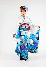 1701 白系 裾黒、青い薔薇と銀色蝶柄 tt-bnAnge203 サムネイル