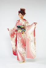 306 ピンク系 サーモンピンク蝶柄 サムネイル