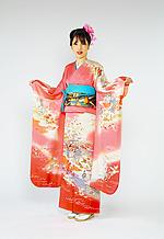 326 ピンク系 濃いピンク平安絵巻古典柄 サムネイル