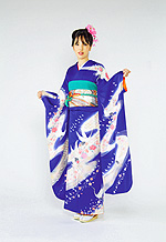 344 紺系 花紺昇り鶴古典モダン柄 サムネイル