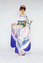 362 ピンク系 羽ばたく鶴の饗宴モダン柄 サムネイル
