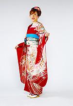 377 赤系 ワイン色きもの絵巻に鶴の羽ばたき古典柄 サムネイル