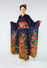 518 紺系 紺グレー赤い花柄 サムネイル