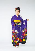 626 紫系 赤紫蝶、花柄 サムネイル