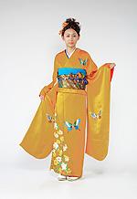 627 黄系 山吹色蝶、花柄 サムネイル