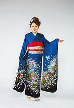 628 青系 紺ブルー小花、蝶柄 サムネイル