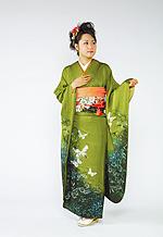 654 緑系 抹茶色蝶柄 サムネイル